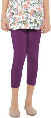 Go Colors Cotton Lycra Blend Girl's Purple Capri