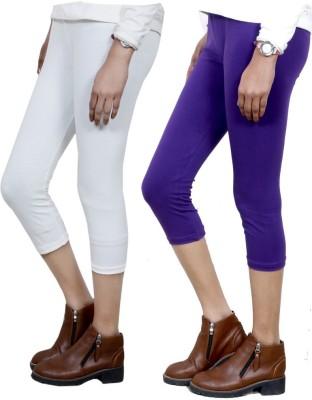IndiWeaves Women,s White, Purple Capri