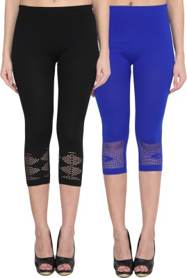 NumBrave Women's Black, Blue Capri