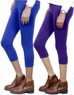 IndiWeaves Women,s Blue, Purple Capri