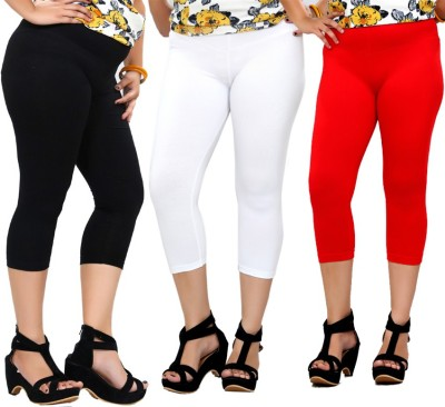 By The Way Fashion Women,s Black, White, Red Capri