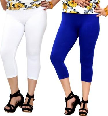 By The Way Fashion Women,s White, Blue Capri