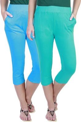 Eshelle Fashion Women,s Light Blue, Light Green Capri
