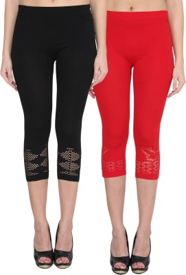 NumBrave Women's Black, Red Capri