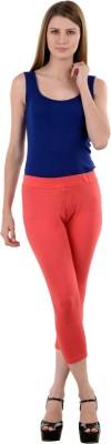 NumBrave Peach Comfort Fit Cotton Women's Red Capri