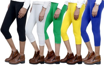 IndiWeaves Women,s Black, White, Green, Yellow, Blue Capri