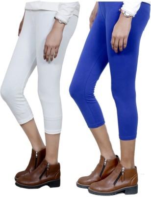 IndiStar Women's White, Blue Capri