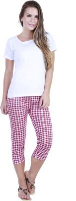 Eshelle Fashion Women,s Pink, White Capri