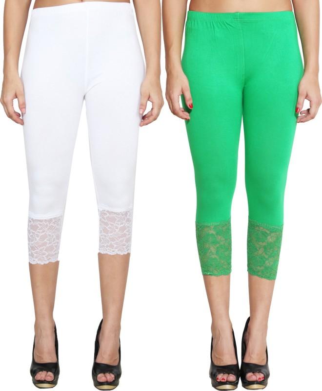 LGC Women's White, Green Capri