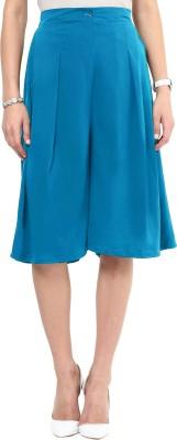 Uptownie Lite Sky Blue Solid Front Pleated Culottes Women's Light Blue Capri