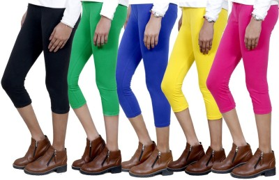 IndiWeaves Women,s Black, Green, Blue, Yellow, Pink Capri