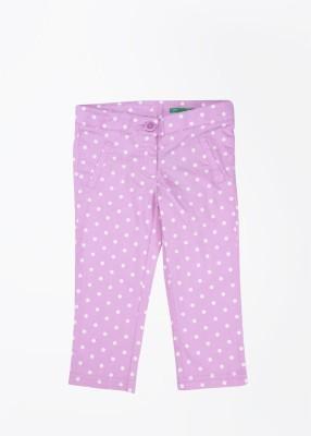 United Colors of Benetton Skinny Girl,s Baby Girl,s White, Purple Capri