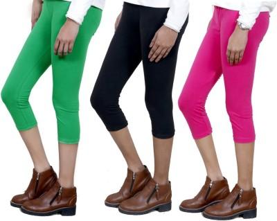 IndiWeaves Women,s Green, Black, Pink Capri