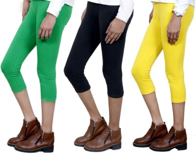IndiStar Women's Green, Black, Yellow Capri