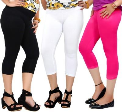 By The Way Fashion Women,s Black, White, Pink Capri