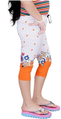 Mint Orange Cotton Jeggings-16 Baby Girl's Orange Capri