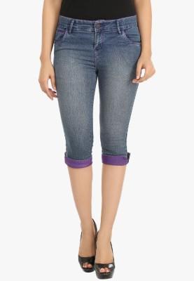 Fashion Cult Women's Blue, Purple Capri