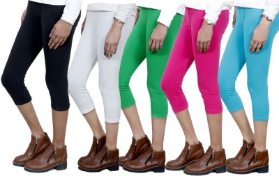 IndiWeaves Women,s Black, White, Green, Pink, Blue Capri