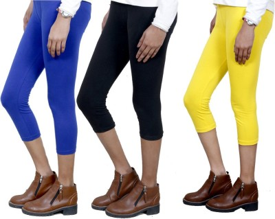 IndiStar Women's Blue, Black, Yellow Capri