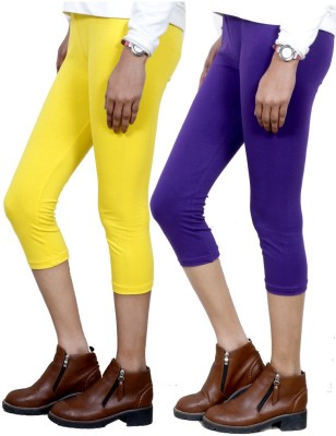 IndiWeaves Women,s Yellow, Purple Capri