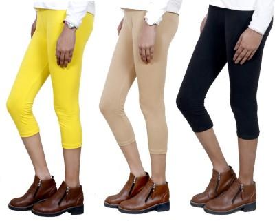 IndiStar Women's Yellow, Beige, Black Capri