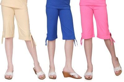 Sini Mini Girls Dark Blue, Pink, Beige Capri