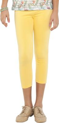Go Colors Cotton Lycra Blend Girl's Yellow Capri