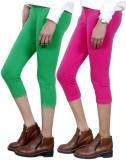 IndiWeaves Women's Green, Pink Capri