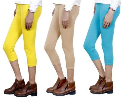 IndiWeaves Women,s Yellow, Beige, Blue Capri