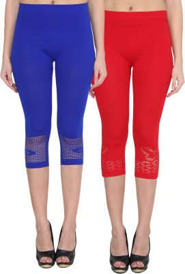 NumBrave Women's Blue, Red Capri