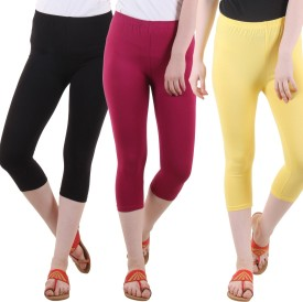 Fasha Women's Black, Maroon, Yellow Capri