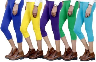 IndiStar Women's Blue, Yellow, Purple, Green, Blue Capri