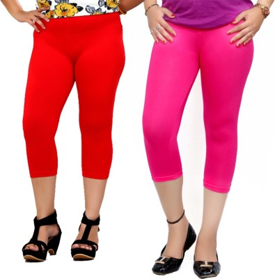 By The Way Fashion Women,s Red, Pink Capri