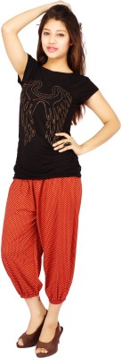 Apple Knitt Wear Multi Color Cotton Printed Harem 3/4 Women's Red Capri