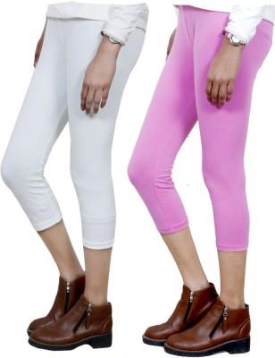 IndiStar Women's White, Pink Capri