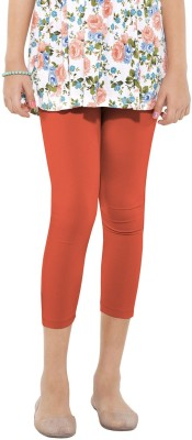 Go Colors Cotton Lycra Blend Girl's Orange Capri