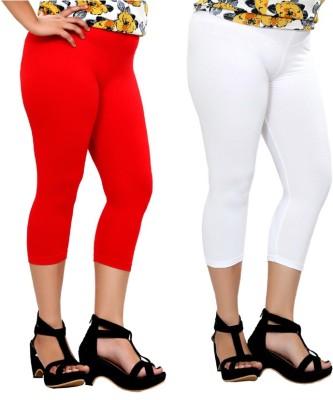 By The Way Fashion Women,s Red, White Capri