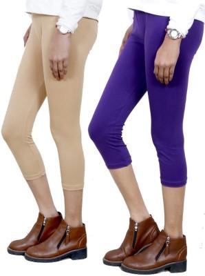 IndiWeaves Women,s Beige, Purple Capri