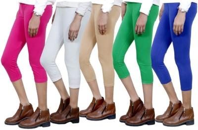 IndiStar Women's Pink, White, Beige, Green, Blue Capri