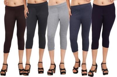 Comix Fashion Women's Brown, Black, Grey, Blue, Purple Capri