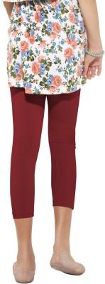 Go Colors Cotton Lycra Blend Girl's Maroon Capri