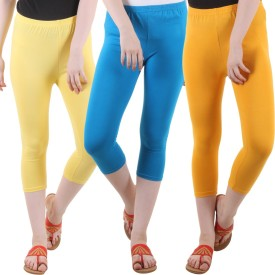 Fasha Women's Yellow, Light Blue, Yellow Capri
