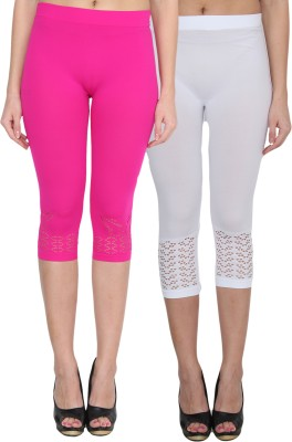 NumBrave Women's Pink, White Capri
