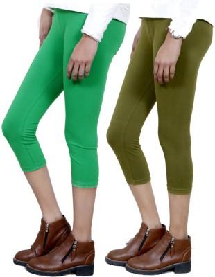 IndiWeaves Women,s Green, Green Capri