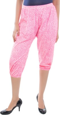 Apple Knitt Wear Pink Cotton Printed Harem 3/4 Women's Pink Capri