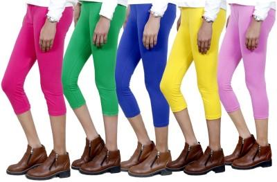 IndiStar Women's Pink, Green, Blue, Yellow, Pink Capri