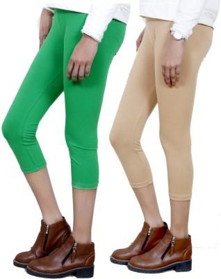 IndiStar Women's Green, Beige Capri