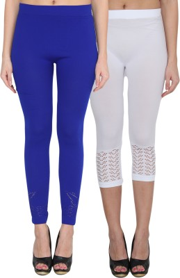 NumBrave Women's Blue, White Capri