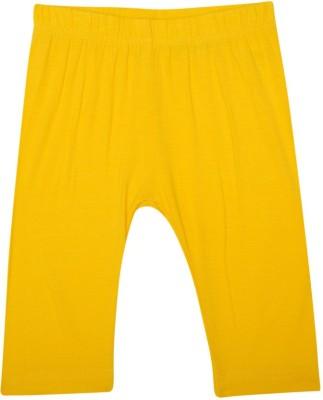 De Moza Viscose Lycra 3/4th Solid 6-7 Yrs Golden Yellow Girl's Yellow Capri
