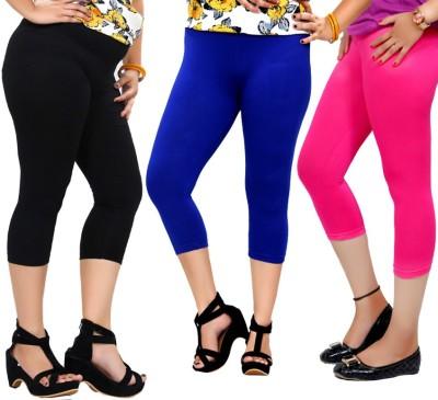 By The Way Fashion Women,s Black, Blue, Pink Capri